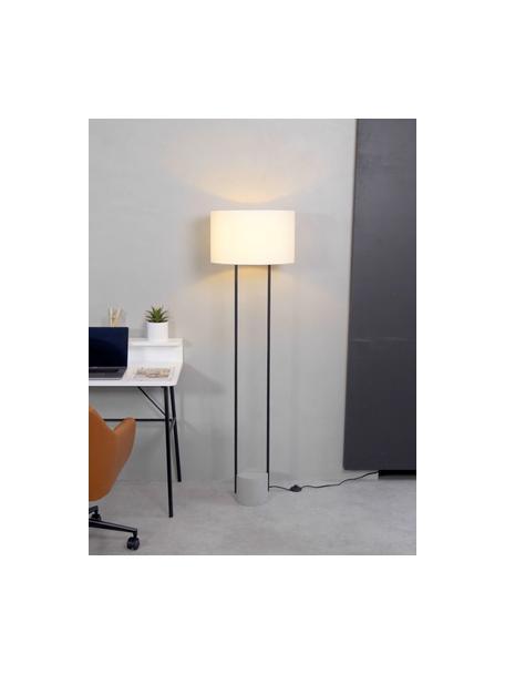Lámpara de pie de cemento Pipero, Pantalla: tela, Estructura: metal con pintura en polv, Cable: cubierto en tela, Blanco, negro, gris, Ø 45 x Al 161 cm