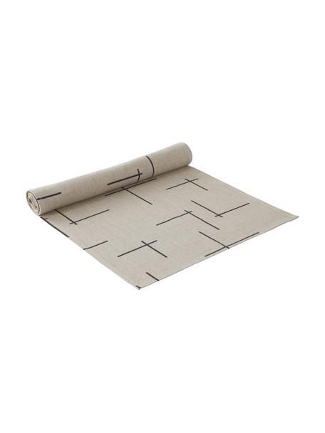 Leinen-Tischläufer Merrin mit Boho-Muster, 100% Leinen, Beige, Schwarz, 40 x 140 cm