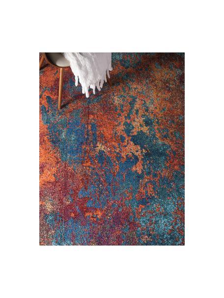 Design vloerkleed Celestial in kleur, Bovenzijde: 100% polypropyleen, Onderzijde: jute, Roodtinten, blauwtinten, groen, B 160 x L 220 cm (maat M)