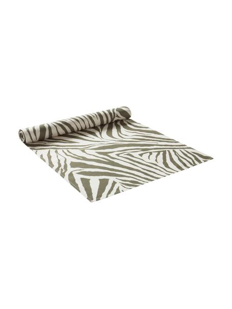 Tischläufer Zadie aus Bio-Baumwolle mit grünem Zebramuster, 100% Baumwolle, aus nachhaltigem Baumwollanbau, Olivgrün, Cremeweiß, 40 x 140 cm