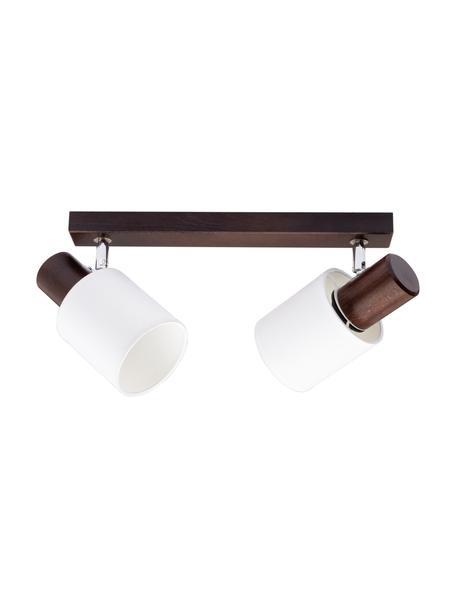 Lampa sufitowa z drewna Treehouse, Ciemny brązowy, biały, S 37 x W 21 cm
