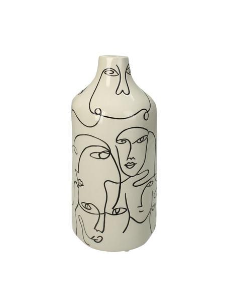 Vase Faces aus Steingut, Steingut, Gebrochenes Weiss, Schwarz, Ø 13 x H 28 cm
