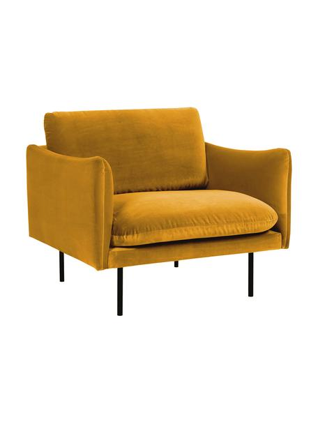 Fluwelen fauteuil Moby in mosterdgeel met metalen poten, Bekleding: fluweel (hoogwaardig poly, Frame: massief grenenhout, Poten: gepoedercoat metaal, Fluweel mosterdgeel, B 90 x D 90 cm
