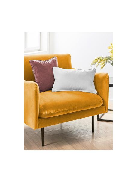 Samt-Sessel Moby in Senfgelb mit Metall-Füssen, Bezug: Samt (Hochwertiger Polyes, Gestell: Massives Kiefernholz, Samt Senfgelb, B 90 x T 90 cm