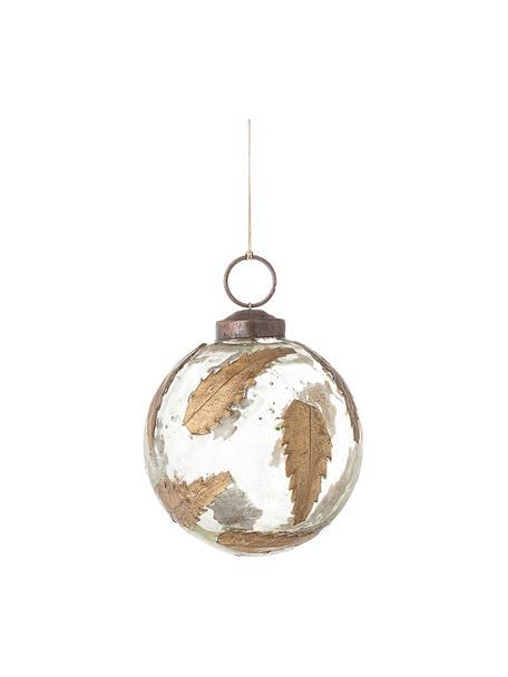 Kerstbal Brask Ø7cm, Glas, metaal, Transparant, messingkleurig, Ø 7 cm