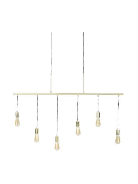 Lampada a sospensione dorata Pole, Struttura: acciaio ottonato, Baldacchino: acciaio ottonato, Ottonato, Larg. 135 x Alt. 92 cm