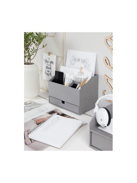 Organizer da ufficio Greta, Cartone solido e laminato, Grigio, Larg. 24 x Alt. 18 cm
