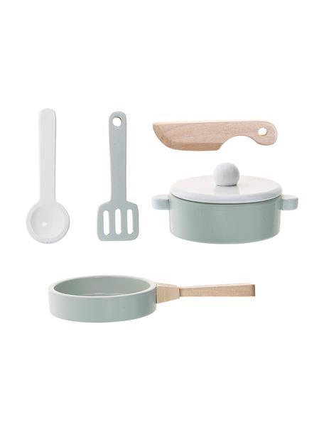 Spielzeug-Set Cooking, 5-tlg., Mitteldichte Holzfaserplatte (MDF), Schimaholz, Blau, Set mit verschiedenen Grössen
