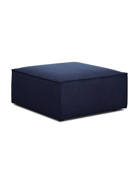Poggiapiedi da divano in tessuto blu Lennon, Rivestimento: 100% poliestere Con 115.0, Struttura: legno di pino massiccio, , Piedini: plastica I piedini si tro, Tessuto blu, Larg. 88 x Alt. 43 cm