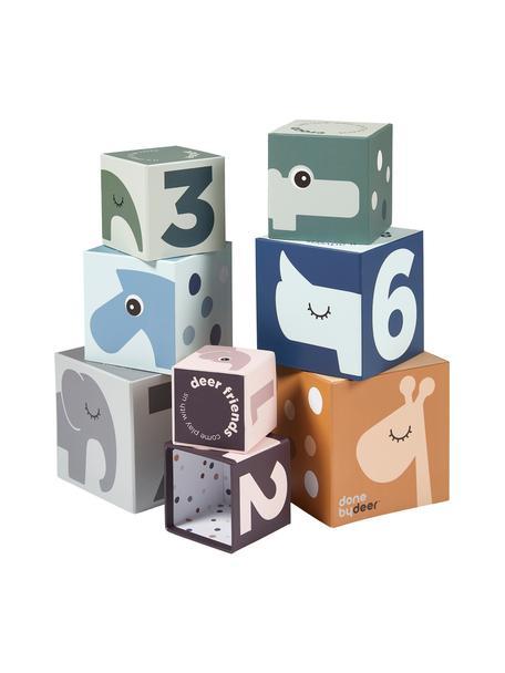 Stapelwürfel-Set Deer Friends, 8-tlg., Karton, laminiert, Mehrfarbig, Set mit verschiedenen Größen