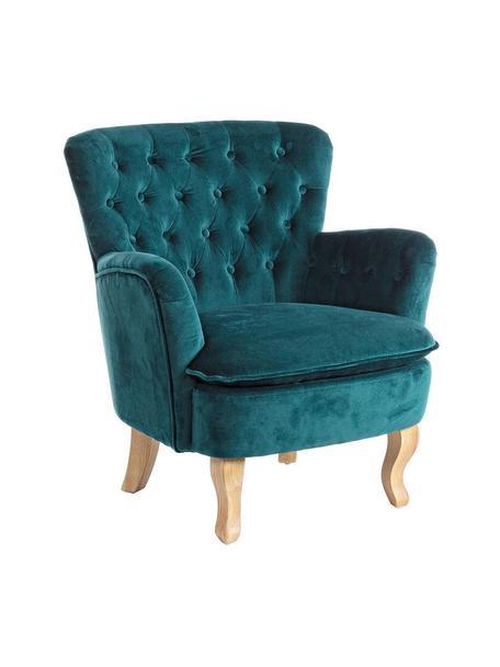 Sillón de terciopelo Orlins, Estructura: madera de pino, Tapizado: terciopelo de algodón, Asiento: 25kg/m³, Azul, beige, An 72 x Al 79 cm