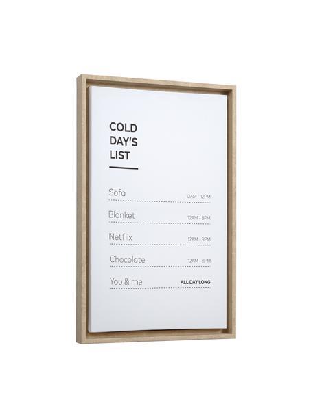 Gerahmter Digitaldruck Annelise, Rahmen: Mitteldichte Holzfaserpla, Bild: Leinwand, Weiss, Schwarz, 30 x 50 cm