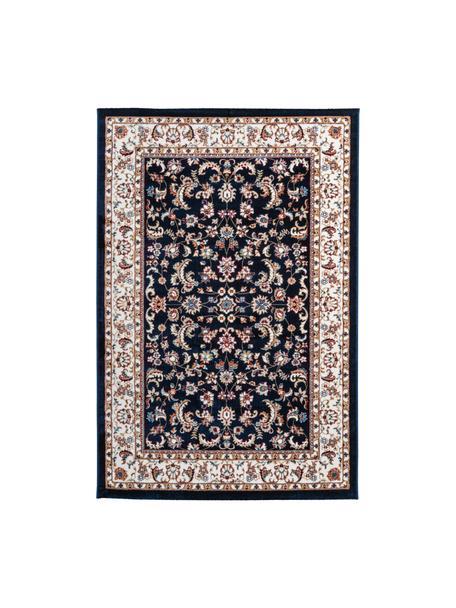Gemusterter Teppich Isfahan in Dunkelblau im Orient Style, 100% Polyester, Dunkelblau, Mehrfarbig, B 80 x L 150 cm (Größe XS)