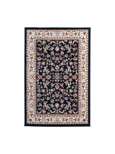 Vloerkleed met patroon Isfahan in donkerblauw in oosterse stijl, 100% polyester, Donkerblauw, multicolour, B 80 x L 150 cm (maat XS)