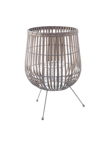 Windlicht Rabat, Windlicht: Weide, Fuß: Metall, beschichtet, Braun, Metall, Ø 30 x H 46 cm