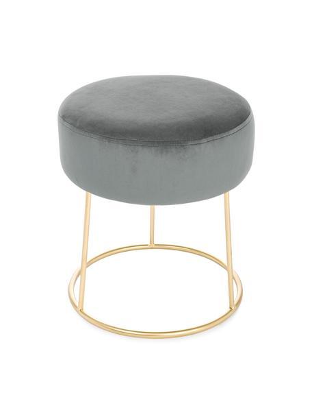Taburete redondo de terciopelo Clarissa, Tapizado: 100%terciopelo de poliés, Estructura: tablero de densidad media, Gris, dorado, Ø 35 x Al 40 cm