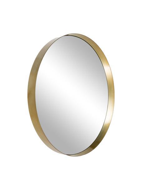 Runder Wandspiegel Metal mit messingfarbenem Metallrahmen, Rahmen: Metall, vermessingt, Spiegelfläche: Spiegelglas, Messingfarben, Ø 30 x T 3 cm