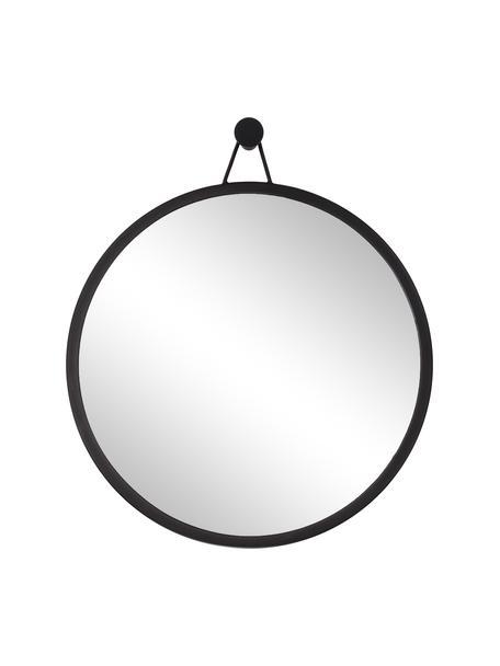Specchio rotondo da parete con cornice nera Lizzy, Cornice: metallo verniciato a polv, Superficie dello specchio: lastra di vetro, Nero, Ø 60 cm x Prof. 3 cm