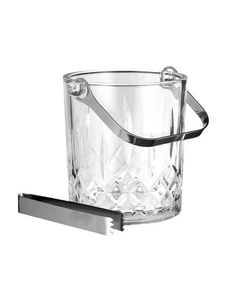 Kleine ijsemmer Harvey met ijstang en kristalreliëf, Glas, Transparant, Ø 13 x H 14 cm