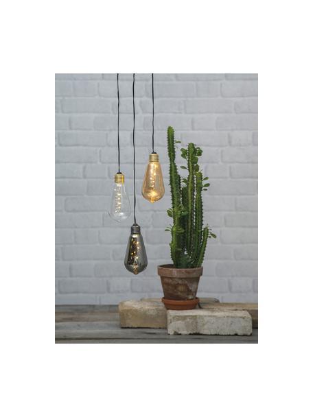 Decoratieve LED lamp Glow, 1 stuk, Lampenkap: glas, Fitting: gecoat metaal, Transparant, Ø 6 x H 13 cm