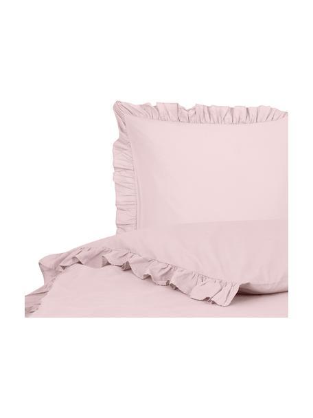 Parure copripiumino in cotone lavato Florence, Rosa, 155 x 200 cm