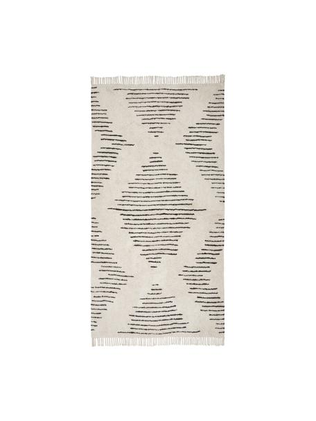 Alfombra artesanal de algodón con flecos Lines, estilo boho, 100%algodón, Beige, negro, An 80 x L 150 cm