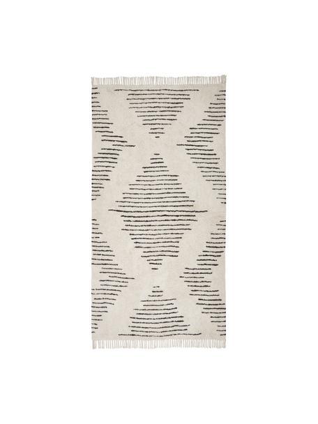 Handgeweven katoenen boho vloerkleed Lines met franjes, 100% katoen, Beige, zwart, 80 x 150 cm