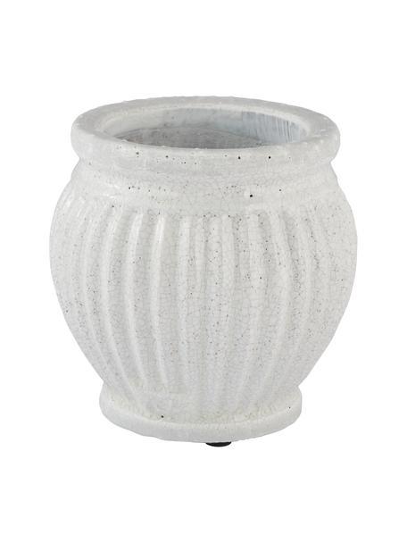 Handgefertigter Übertopf Catinia aus Keramik, Keramik, Hellgrau, Ø 19 x H 16 cm