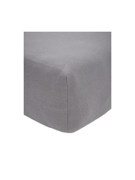 Boxspring hoeslaken Lara in donkergrijs, jersey-elastaan, 95% katoen, 5% elastaan, Donkergrijs, 90 x 200 cm