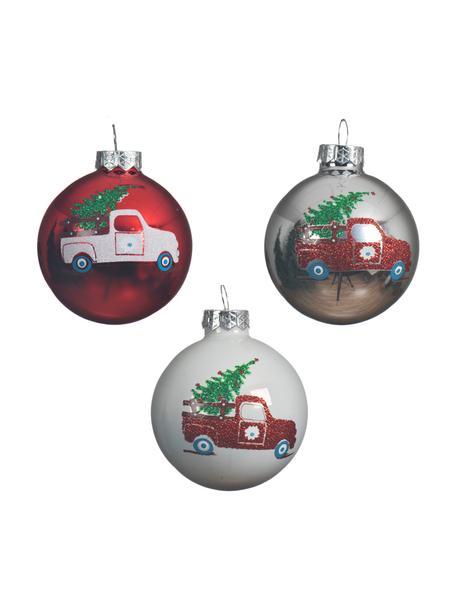 Weihnachtskugeln Cars Ø 6 cm, 3 Stück, Weiß, Rot, Silberfarben, Ø 6 cm