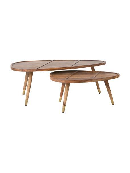 Komplet stolików kawowych  z drewna sheesham Sham, 2 elem., Blat i nogi powyżej: drewno palisandrowe Nogi poniżej: odcienie złotego, S 110 x W 40 cm