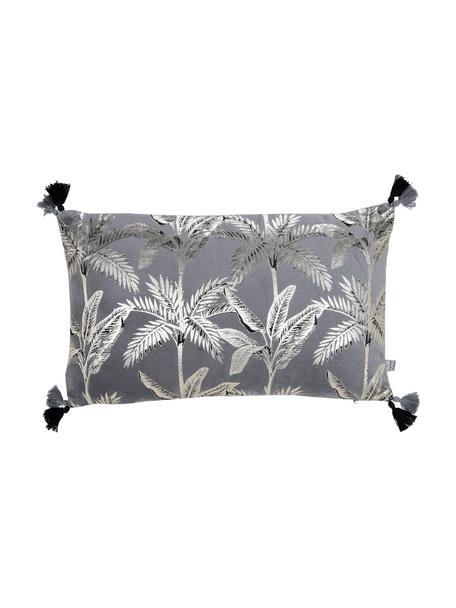 Fluwelen kussen Palm met glanzend print, met vulling, Grijs, 30 x 50 cm