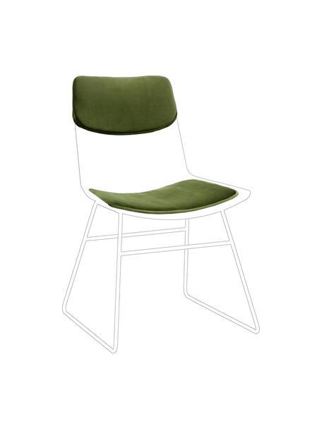 Samt-Sitzauflagen-Set für Metall-Stuhl Wire, 2-tlg., Bezug: 60% Baumwolle, 40% Polyes, Grün, Set mit verschiedenen Größen