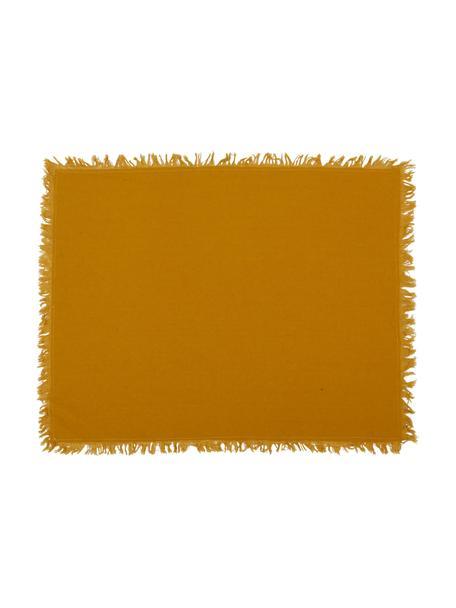 Baumwoll-Tischsets Nalia mit Fransen in Senfgelb, 4 Stück, Baumwolle, Senfgelb, 40 x 50 cm