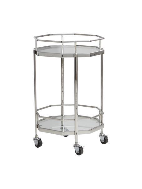 Carello di servizio in metallo e vetro Bilbao, Mensola: vetro, Struttura: metallo cromato, Cromo, trasparente, Ø 48 x Alt. 76 cm