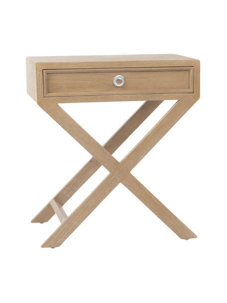 Mesilla de noche artesanal Cross, Estructura: madera de roble maciza, Roble, An 53 x Al 35 cm