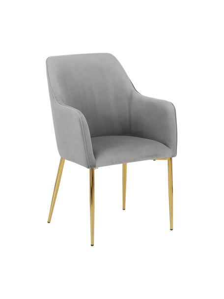 Sedia con braccioli in velluto con gambe dorate Ava, Rivestimento: velluto (100% poliestere), Gambe: metallo zincato, Velluto grigio Gambe: oro, Larg. 57 x Prof. 63 cm