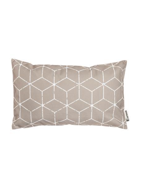 Cuscino da esterno con imbottitura e motivo grafico Cube, 100% poliestere, Taupe, bianco, Larg. 30 x Lung. 50 cm