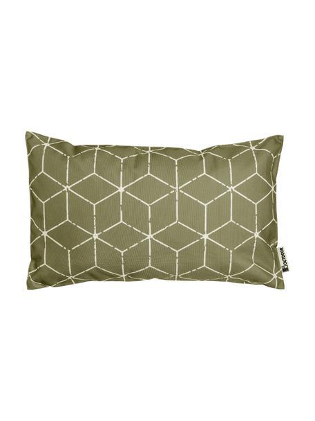 Outdoor kussen Cube met grafisch patroon in groen/wit, met vulling, 100% polyester, Groen, wit, 30 x 50 cm