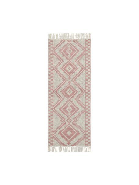 Chodnik z wełny Cindrella, 90% wełna, 10% bawełna, Naturalny biaył, czerwony, S 80 x D 200 cm
