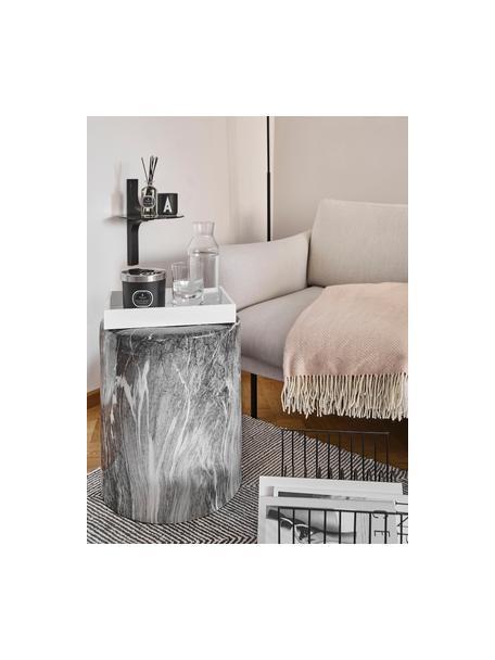 Plaid in lana merino con motivo a zigzag Aubrey, 80% lana merino, 20% nylon, Rosa, bianco latteo, Larg. 140 x Lung. 200 cm