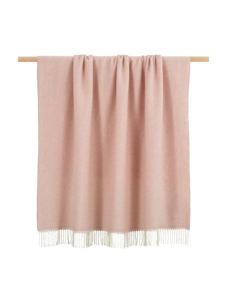 Coperta in lana con motivo spina di pesce Aubrey, 80% lana merino, 20% nylon, Rosa, Larg. 140 x Lung. 200 cm