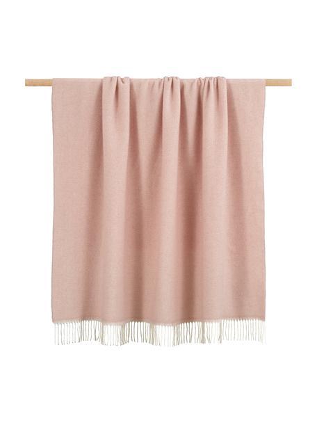Wollen plaid Aubrey met fijn zigzag patroon, Roze, gebroken wit, 140 x 186 cm