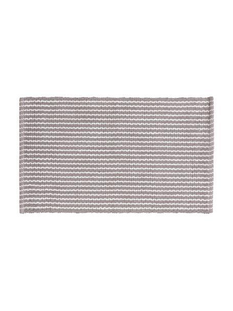 Gestreifter Badvorleger Bono in Grau/Weiß, 100% Baumwolle, Grau, Weiß, 50 x 80 cm