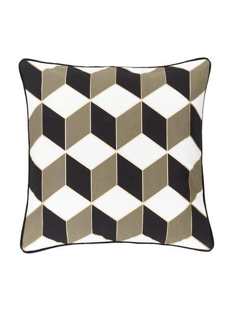 Federa arredo fantasia con bordino nero Geo, 100% cotone, Bianco crema, taupe, dorato, Larg. 45 x Lung. 45 cm
