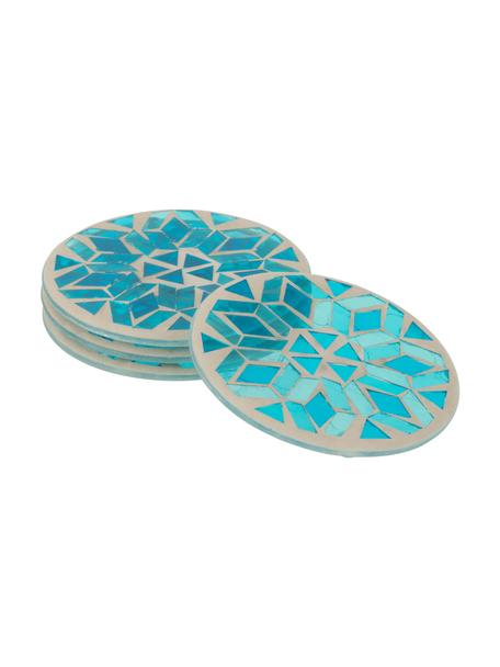 Glazen onderzettersset Mosa, 4-delig, Glas, Blauwtinten, beige, Ø 10 cm