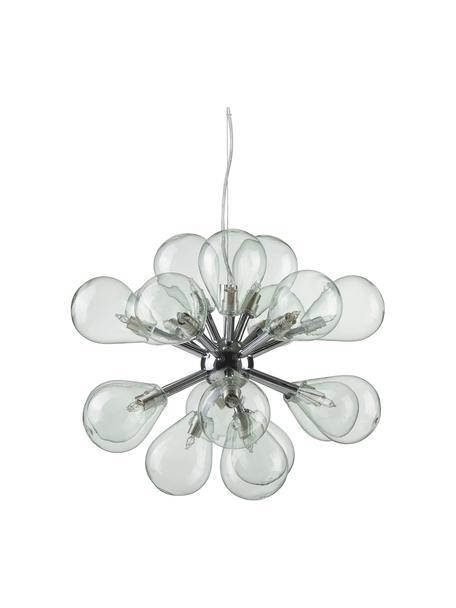 Lampada a sospensione in vetro colorato Galeno, Paralume: vetro, Baldacchino: acciaio, Blu, Larg. 47 x Alt. 40 cm