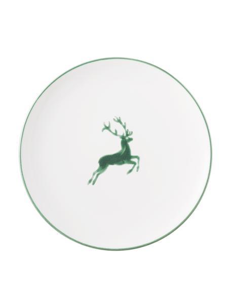 Handbeschilderd dinerbord Classic Green Deer, Keramiek, Wit, Ø 25 cm