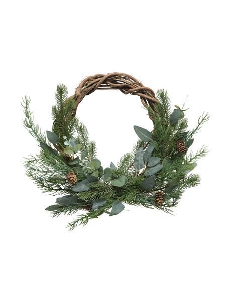 Weihnachtskranz Gina Ø 40 cm, Kunststoff, Grün, Braun, Ø 40 x H 15 cm