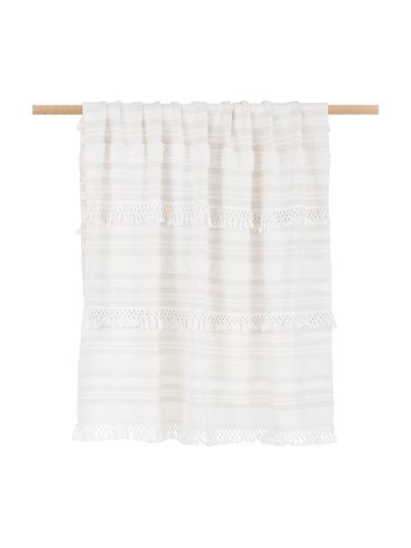 Manta de algodón con flecos Nara, estilo boho, 100%algodón, Blanco crema, beige, An 130 x L 170 cm